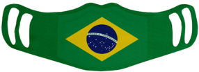 Brazil Flag White Face Mask